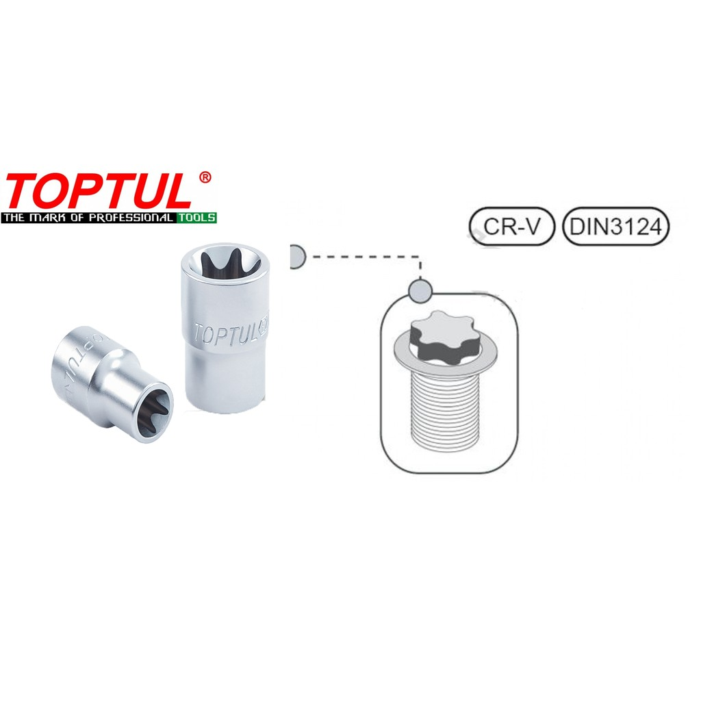 Toptul 1/2'' Dr. E Torx Star Socket E8, E10, E11, E12, E14, E16 (Model BAED)