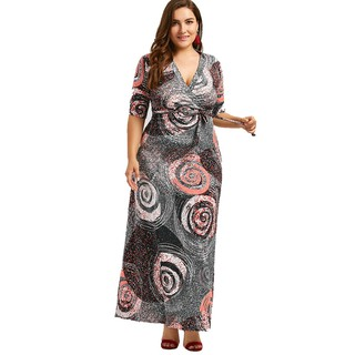 Galaxy Print Plus Size Floor Length Dinner Dress With Belt