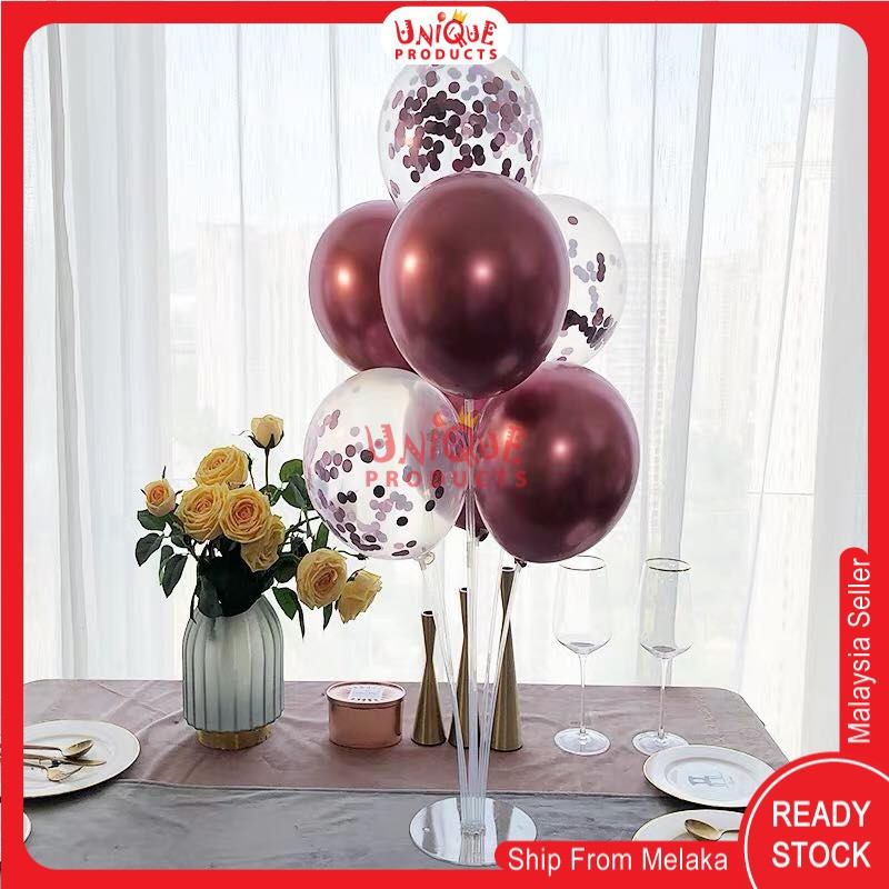 Ready Stock - 1 set of New Balloon Table Stand with holder ( 7 Holders )