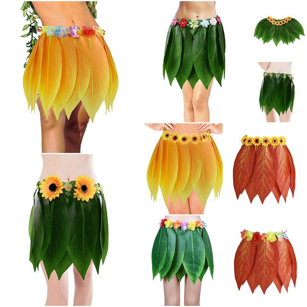 Hawaiian Hula Grass Skirt Fancy Dress Kids Girls Costume with Flower