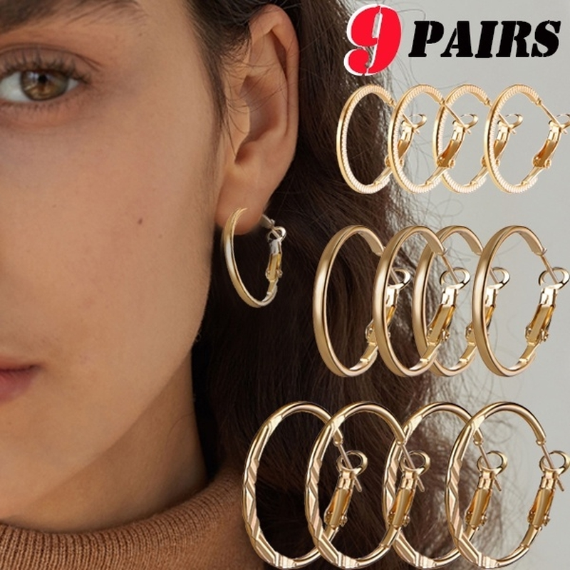 dfcb8e004b791 9 Pairs/set Punk Round Silver Hoop Earrings Set for Women Fashion Gold  Small Circle Earring Gifts Female Party Jewelry