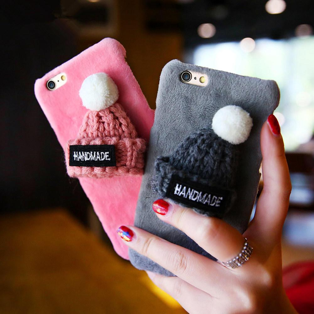 best sneakers 234c8 cd9bf Lovely Plush Knitted Christmas Cap Phone Cases For iPhone 6s 7 Plus 5s 6 7  SE