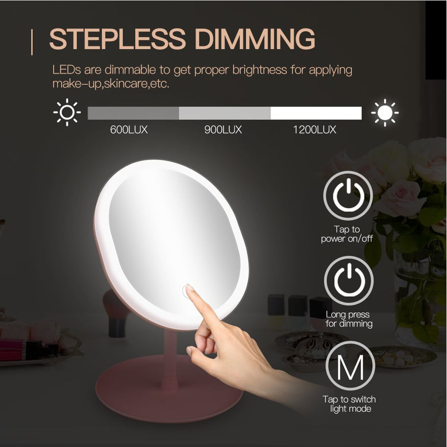 Makeup Mirror with 3 Modes Lights Rechargeable Portable Mirror Touch Screen Switch LED Lighted