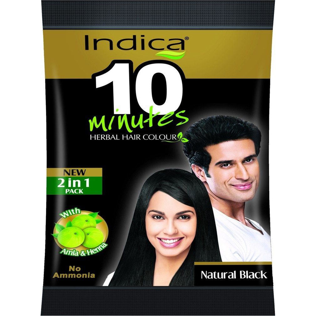 Indica 10 Minutes Powder Hair Color Natural Black - 5gm