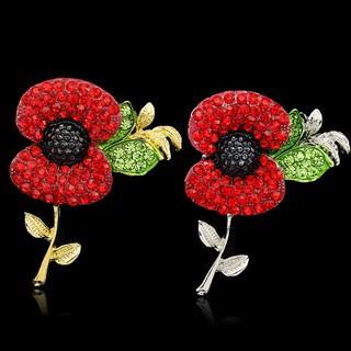 Red Flower Poppies Crystal Poppy Pin Brooch Enamel Badge Costume