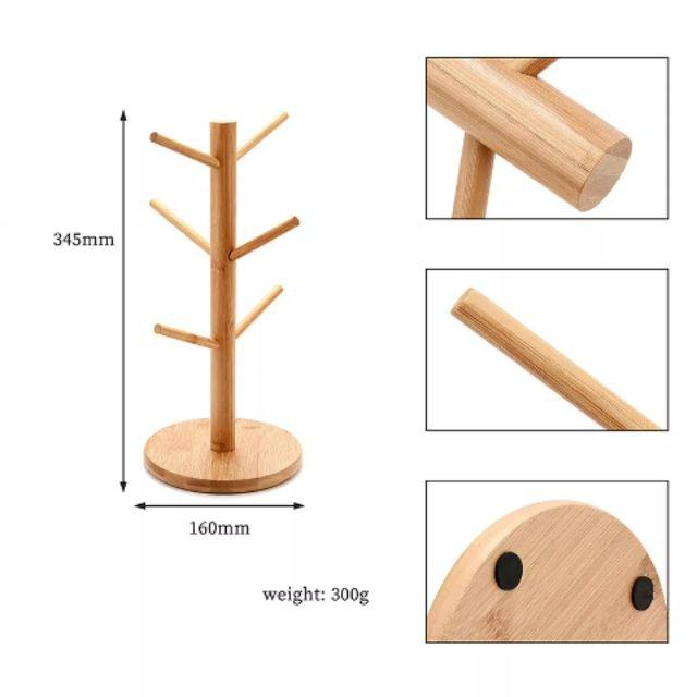 [ READY STOCK ]  Tree-Shape Wood Coffee Tea Cup Rack Stand Mug Drying Hanging Display Cup Storage Holder With 6 Hook