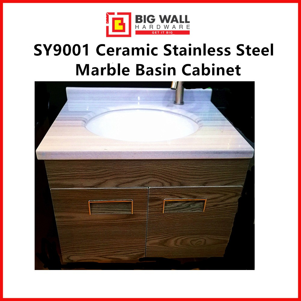 SY9001 Stainless Steel Marble Ceramic Basin Cabinet (600mm x460mm x 450mm)