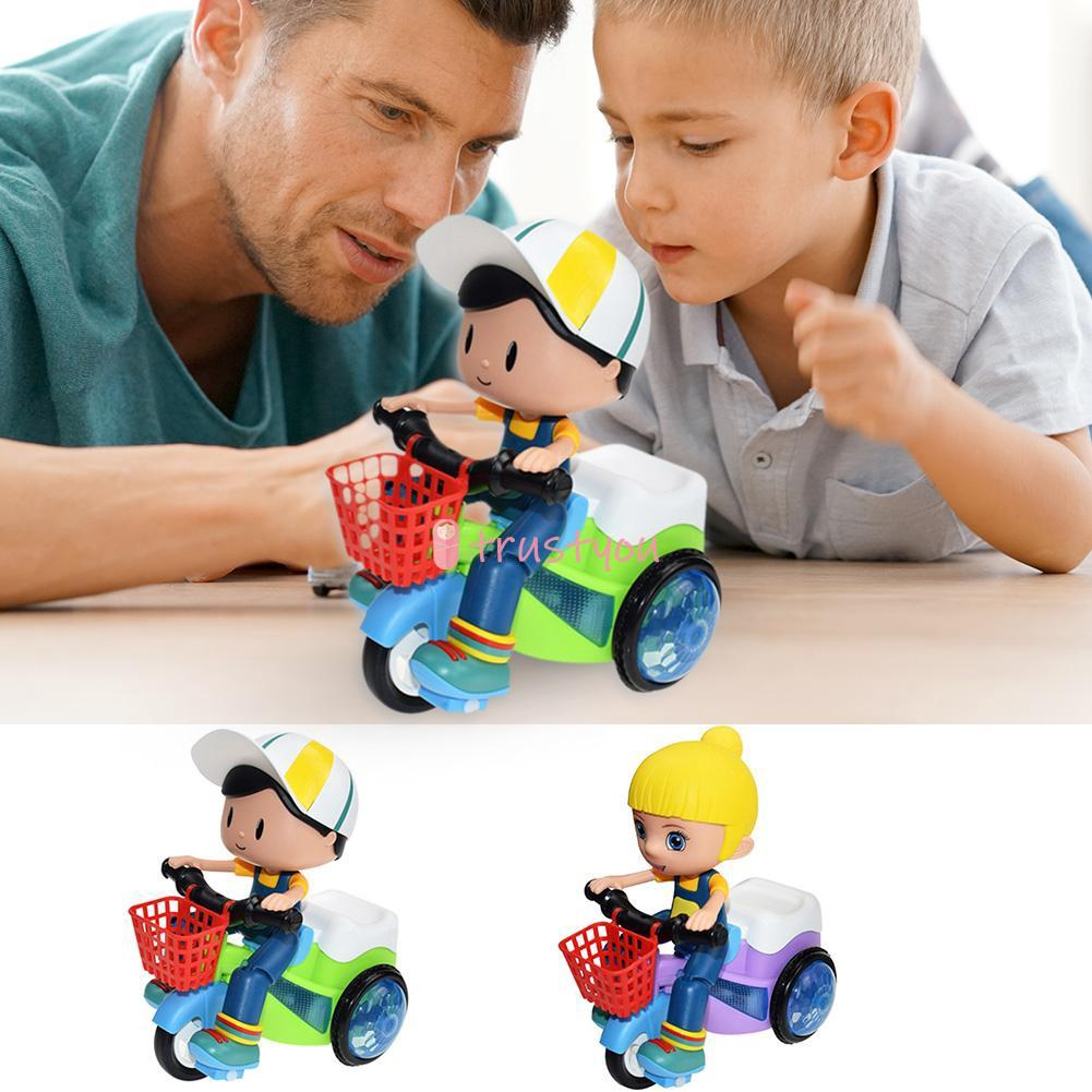 Kids Stunt Music Toy Car 360° Rotating Electric Battery Powered Tricycle Modle