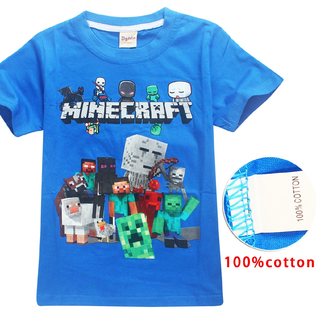 9d1453e5e0093 Summer Minecraft Cartoon Baby Boy T Shirt Big Boys Tees Tops Clothing  Children T-shirts Kids Clothes 3D Print Costume