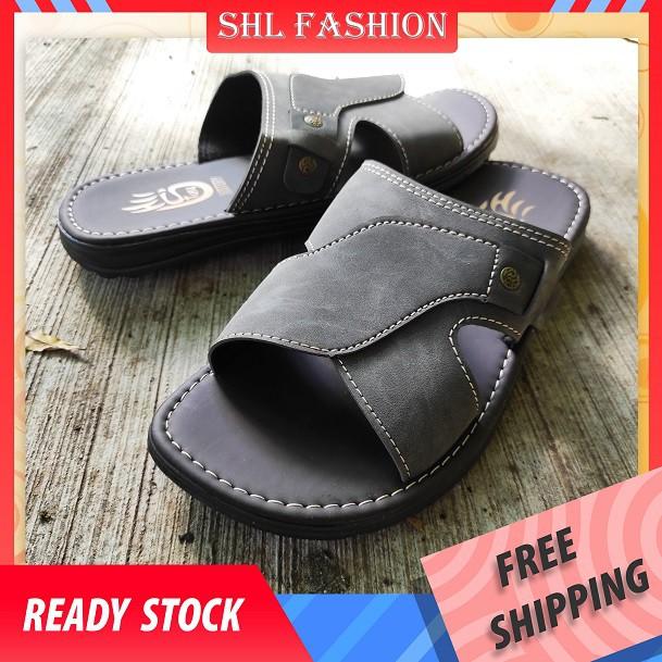 SHL Men PU Leather Sandal ONE STRAP Slip On Selipar Kasut Lelaki size 39-44【男士凉拖】-528