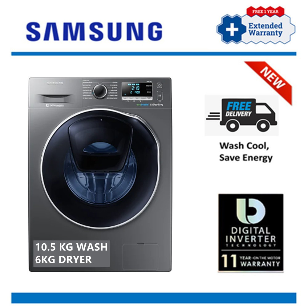 Free Delivery Samsung 10 5kg 6kg Wd10k6410ox Front Load Inverter Washer Dryer Free 1 Year Extended Warranty Shopee Malaysia