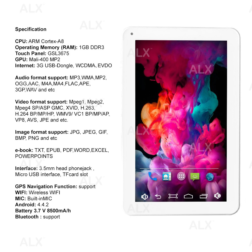 ALX ARM Cortex-A8 10 inch High Resolution Tablet PC Android