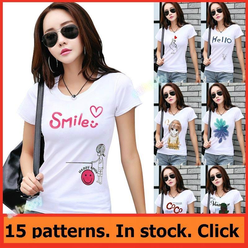 Women Tshirts Tee White Tops Shirt Lady Clothing Printed Short Sleeve Summer