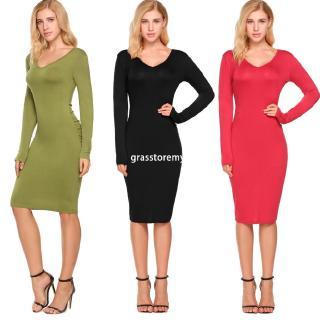 9e5343ab1074 ㋡GR Women V-neck Long Sleeve Bodycon Dress Package Hip V-back Slim Party