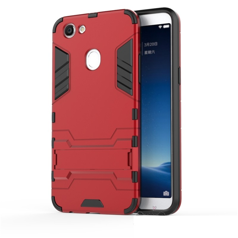 Oppo F5 Ironman Stand PC TPU Armor Phone Case Cover Casing