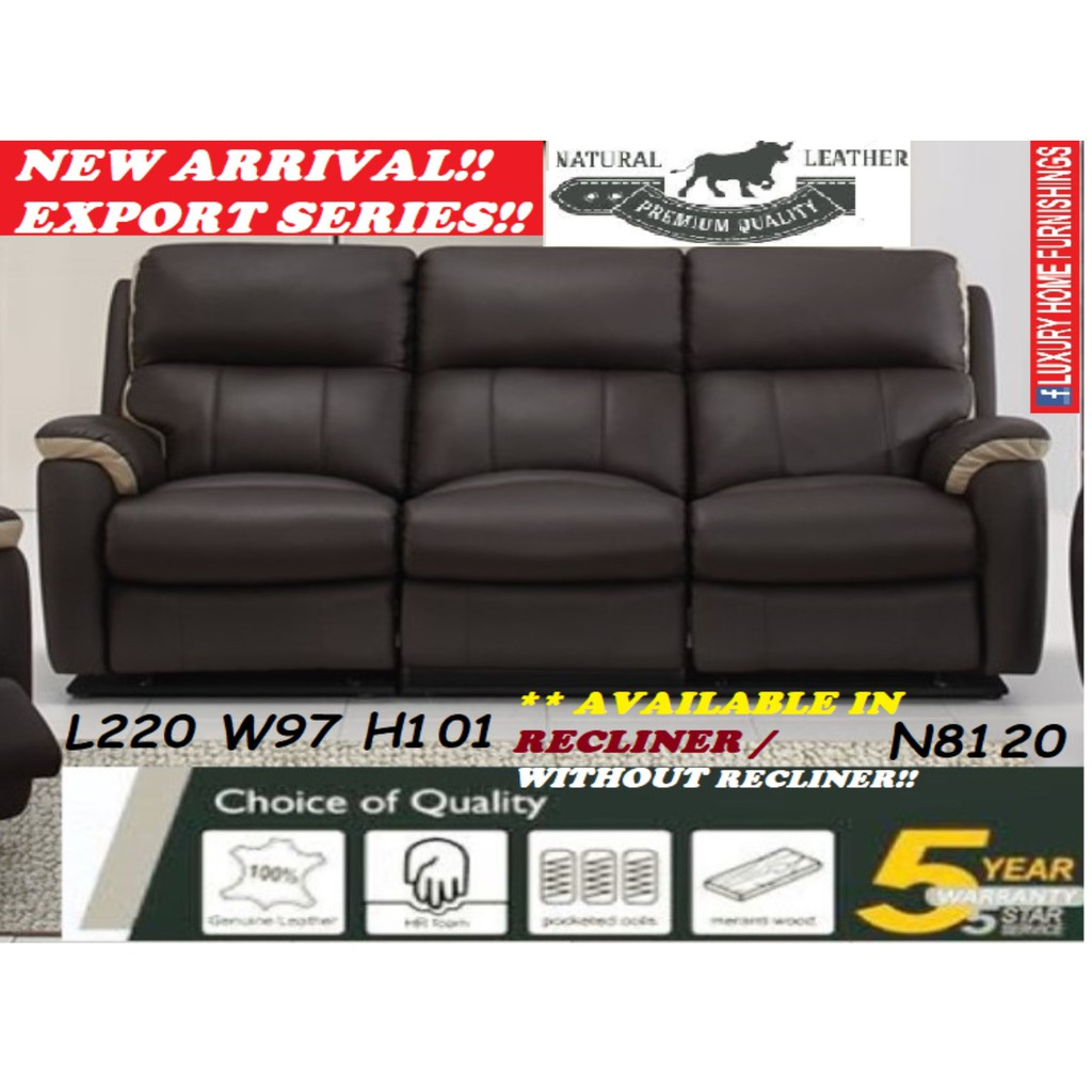 N8120, GENUINE COW LEATHER, H/L, 3 SEATER SOFA !!  AVAILABLE IN RECLINER / WITHOUT RECLINER, RM 4,649!!!! SAVE 40% OFF!!