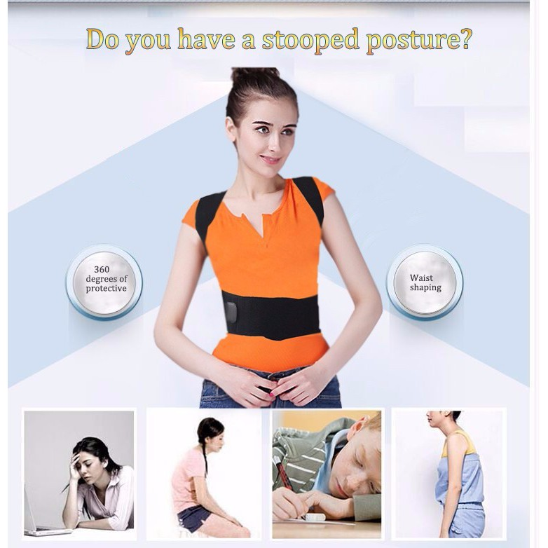 🚛Ready stock Local📦 Orthopedic Back Support Corrector Posture Back Pain Adjustable Belt with Magnet