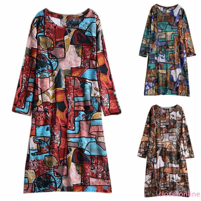 Womens Boho Floral Midi Dress Long Sleeve Loose Ladies Cotton Plus Size CL✿✿