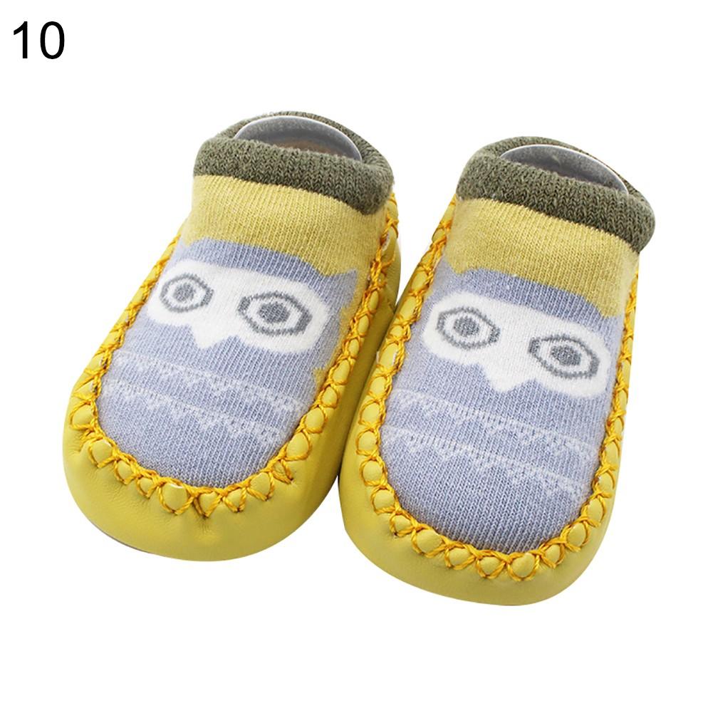 1 Pair Cute Cartoon Unisex Newborn Toddler Baby Cotton Anti-Slip Slipper Floor Socks Shoes Booties