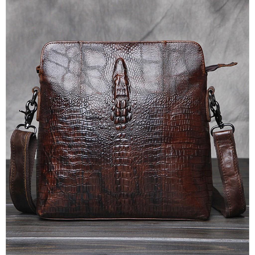 Men/'s Crocodile Genuine Cow Leather Messenger Shoulder Bag Handbag Business Bag