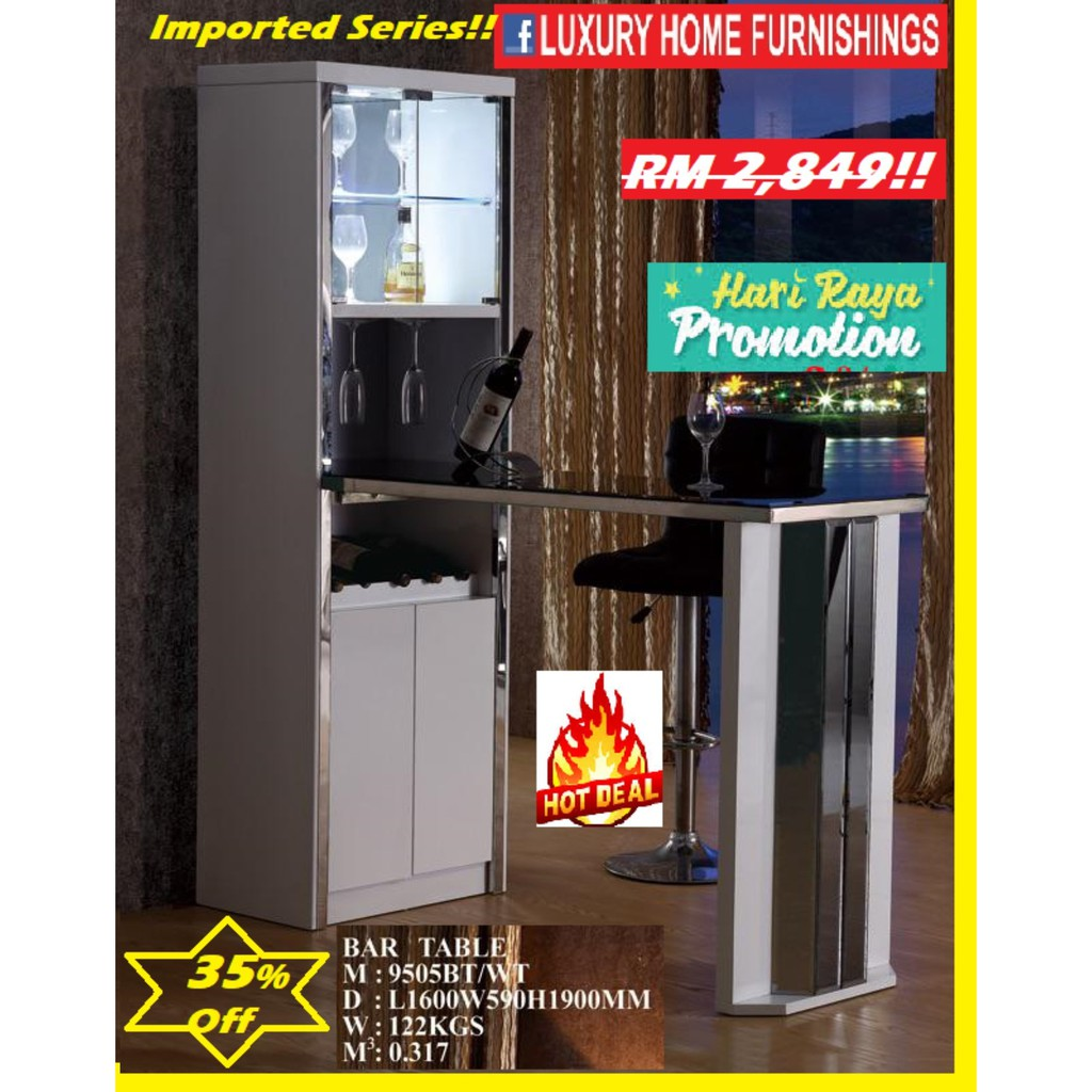 5.3ft Length & 6.3ft Height, Modern DESIGN, WHITE COLOR, IMPORTED Series,  BAR COUNTER!! RM 2,849!! 35% Off!!