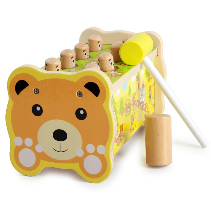 Pounding Bench Toys Wooden Educational Bear Pattern With Hammer Toy For Kids
