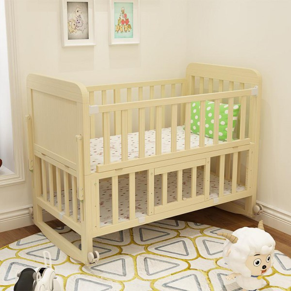 JHA228 2 IN 1 NATURAL EASEL WOODEN CRADLE BABY COT (2 TIER)