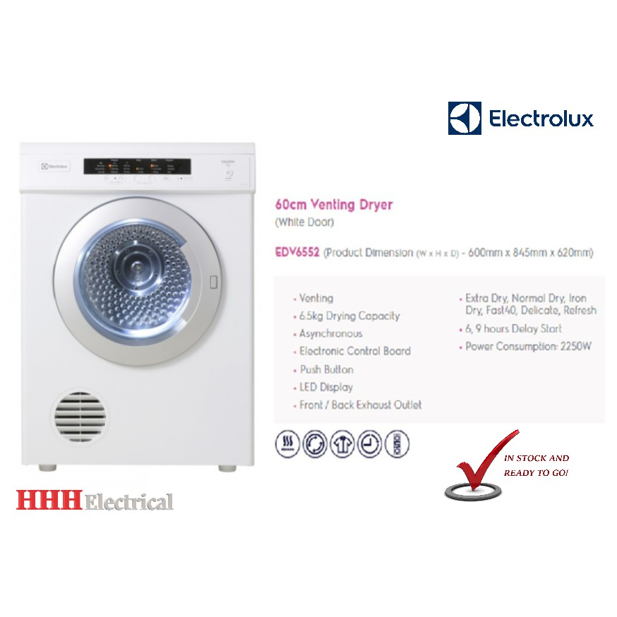 Electrolux Dryer Machine EDV6552 (6.5 kg) Venting 2017 New Model ... edf1e711ad