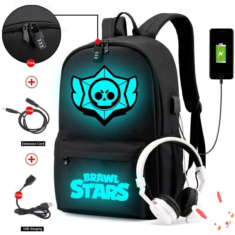 Marshmello DJ Boy Girl Luminous Backpack Anti-theft USB