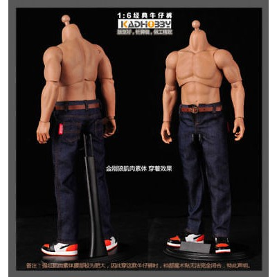 1//6Scale  Male Classic Jeans Denim Man Pants F 12/'/' Muscular Body
