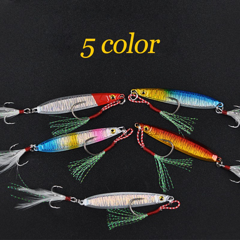 metal jig fishing lure with feather 10g artificial bait freshwater jigging YR