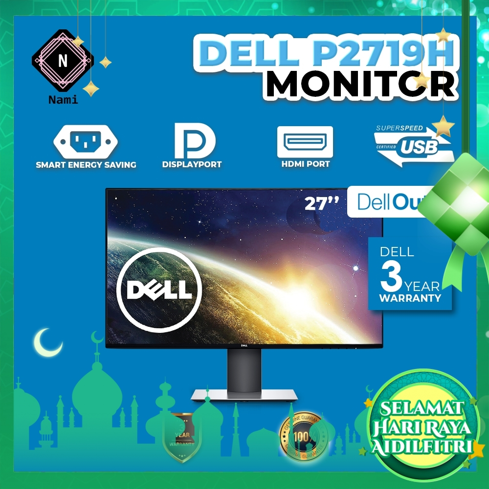 """Dell Outlet Refurbished - P2719H 27"""" Full HD IPS LED Monitor - 3 Years WTY by Dell"""