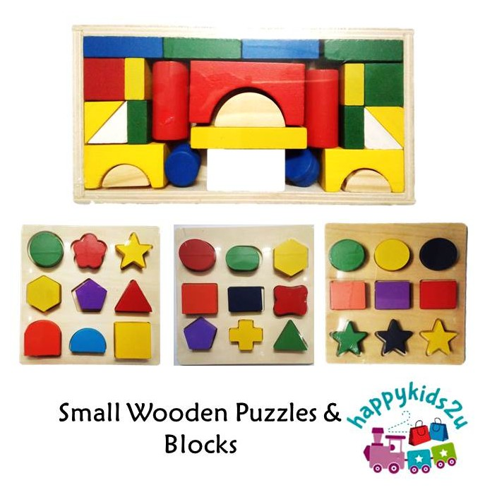 Small Knob Wooden Puzzle Shapes l Mini Wooden Block Building Creativity l Kids Montessori Learning Education