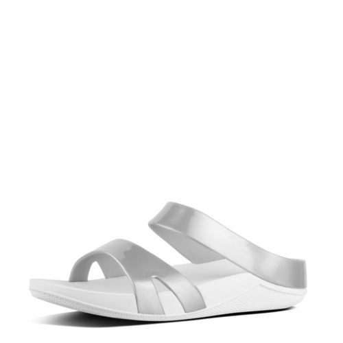 fde626e3e6c086 Fitflop Welljelly Plain Slide Sandals (Silver)