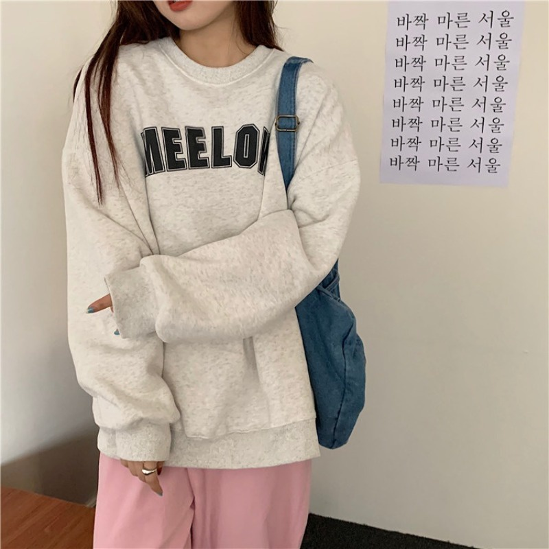 shopee: GSMILEOversize Letter Personality Sweater Fashion Long sleeve Casual Women's clothes Trend Tops (0:1:color:white gray;1:3:size:XXL)