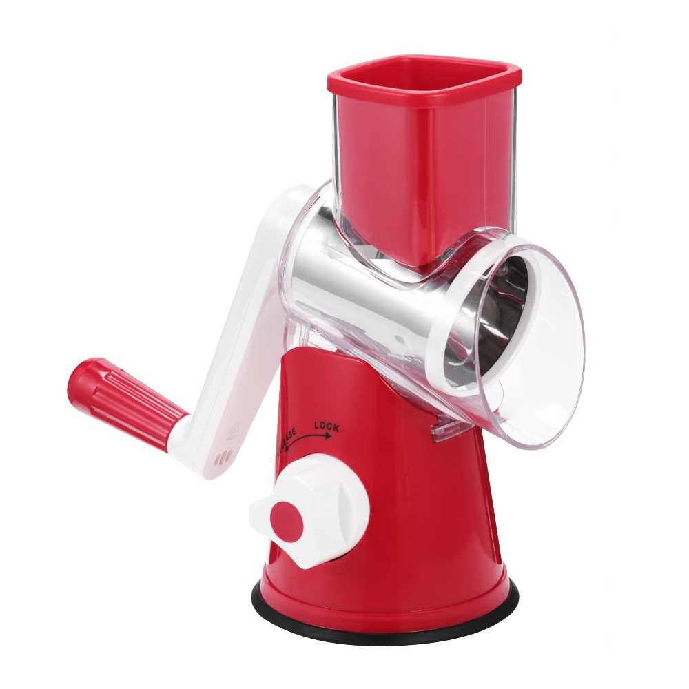 Drum-type Hand-operated Vegetable Shredder Device (Red)