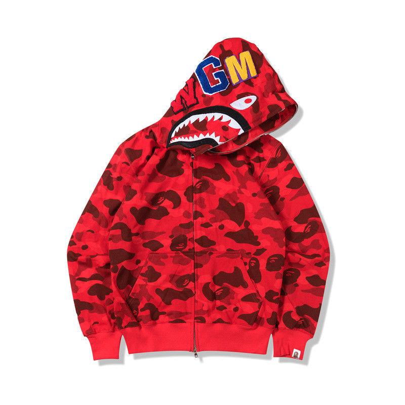 Lovers Bathing Ape Bape Shark Zipper Hoodie Sweats Coat Jaw Jacket Camo Full