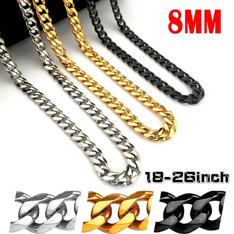 1f232fb00d49f Men's Stainless Steel Curb Chain Necklace Jewelry