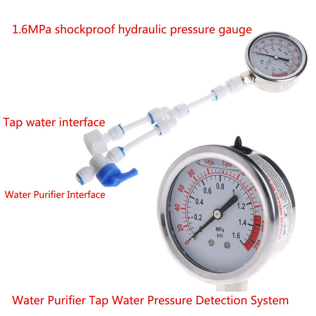 2in1 Water Purifier Tap Pipes Pressure Gauge Test Meter Anti-vibration