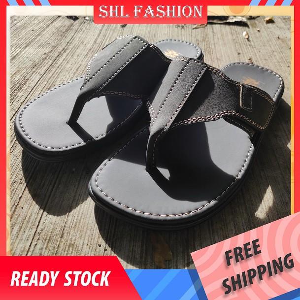 SHL Men PU Leather Sandal Casual Slip On Selipar Kasut Lelaki size 39-44【男士拖鞋】-406