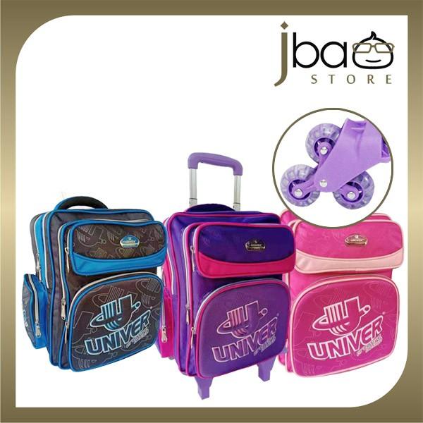 Univer 6 Wheels Trolley School Bag Kid Primary Backpack SU-19341 (Pink / Purple)