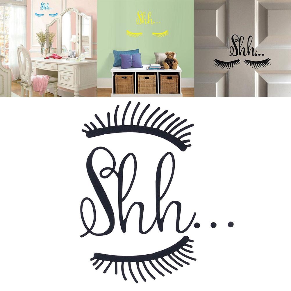 Beautiful Cute Shh Eyelash Wall Vinyl Sticker Girls Baby Room Door Decal Decor