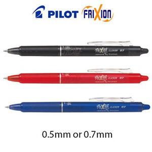 Black Pilot Frixion Erasable Roller Ball Pen 0.7 mm Black Fine Tip Refill