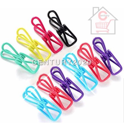 Clothesline Clothespin Bag Pack Utility Colorful Steel Wire Clips Daily Necessities Stationery Simple Tongs Peg 12 pcs