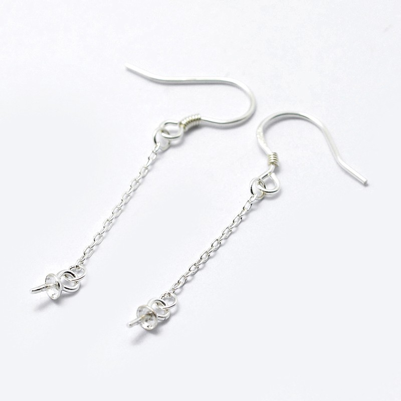 100pcs Iron Earring Hooks Silver 18mm long 18mm wide Pin 0.8mm Jewelry Finding