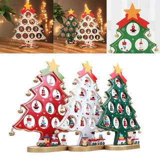 Miniature Christmas Ornaments.Wooden Tabletop Christmas Tree With Miniature Christmas Ornaments