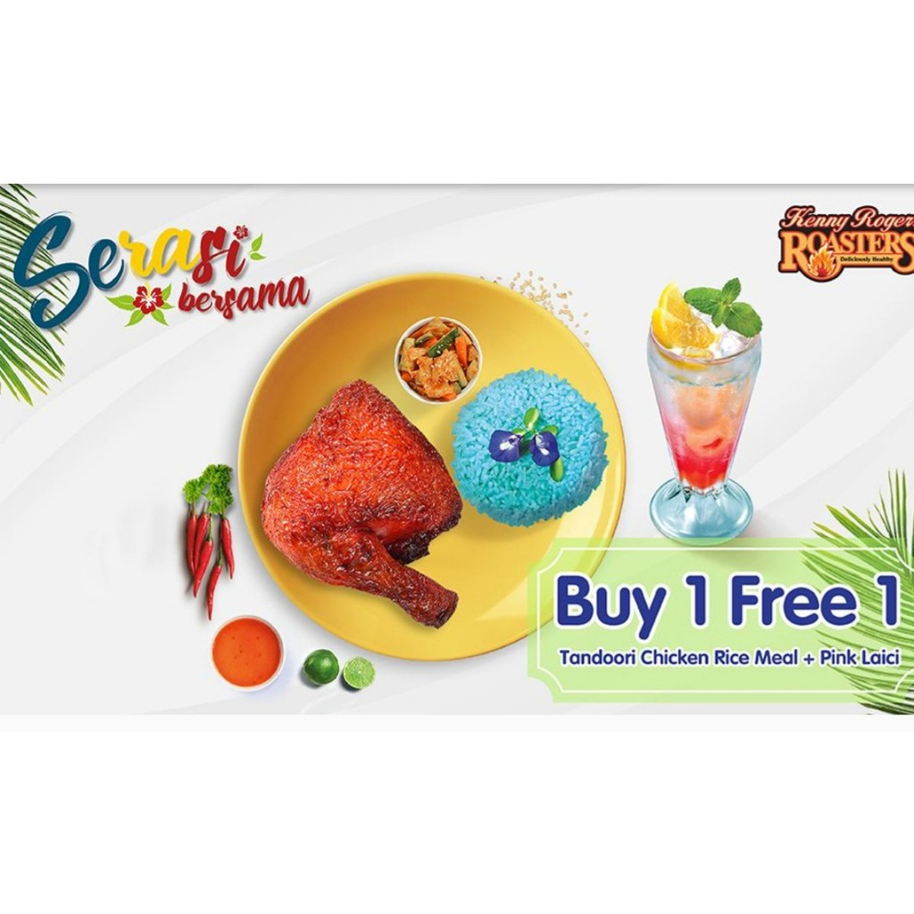 Kenny Rogers Roasters Buy 1 Free 1 Tandoori Chicken Rice Meal Pink Laici Shopee Malaysia