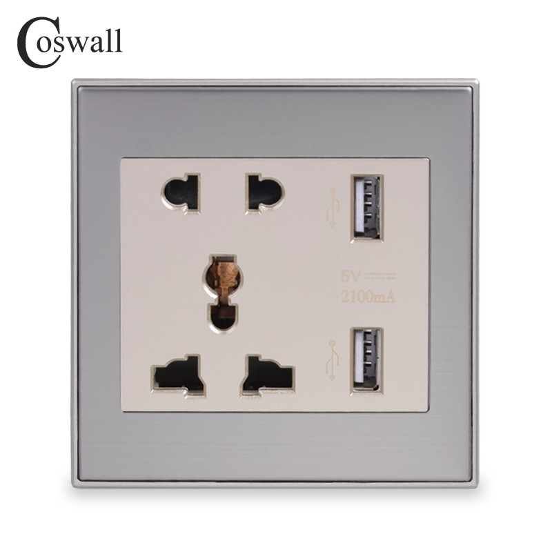 Home Improvement Coswall Wall Power Socket Double Universal 5 Hole Switched Outlet 2.1a Dual Usb Charger Port Led Indicator 146mm*86mm