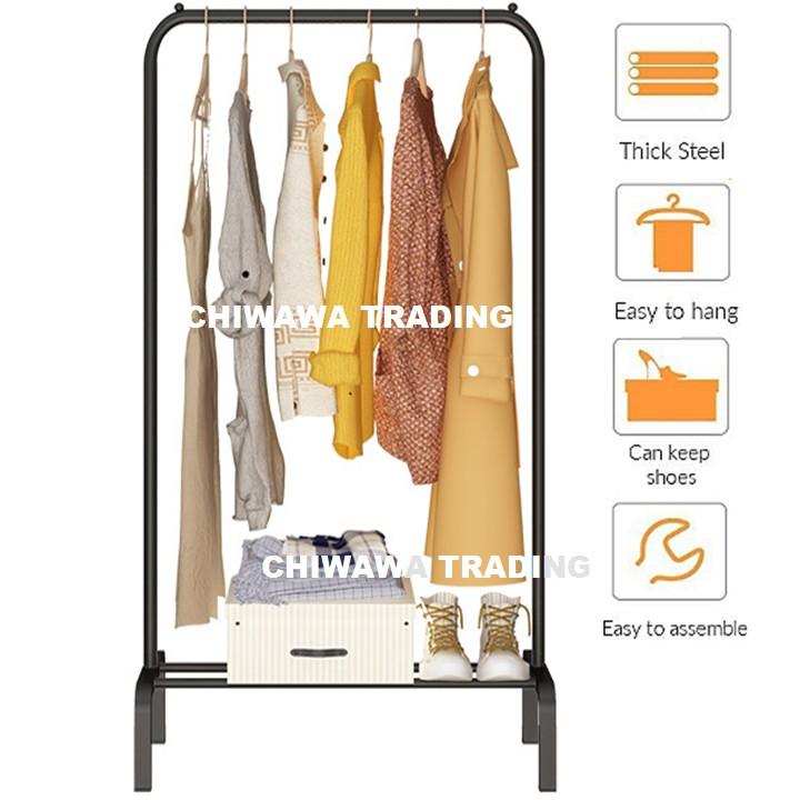 DIY Clothes Hanging Rack Cloth Shoe Wardrobe Closet Storage Organizer Drying Shelf Mulig Rak Penyidai Baju
