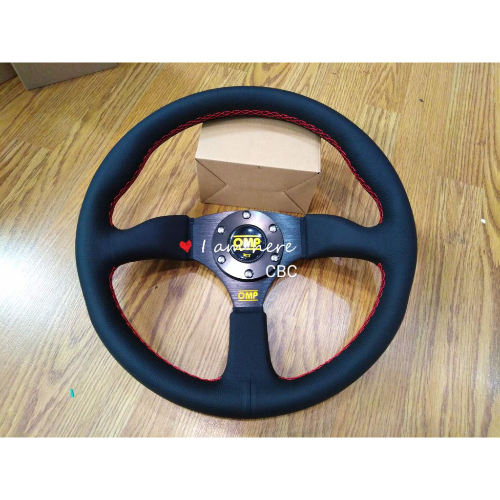 """OMP Leather Deep Dish Sport Steering 14"""" / 14 Inch"""